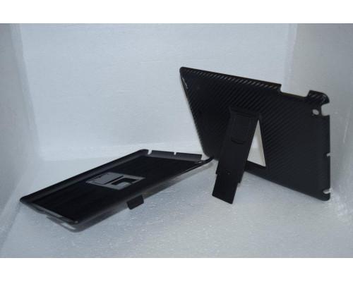 Чехол для iPad 3 накладка с подставкой карбон