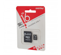Карта памяти SmartBuy microSDHC Class 10 16gb + SD adapter