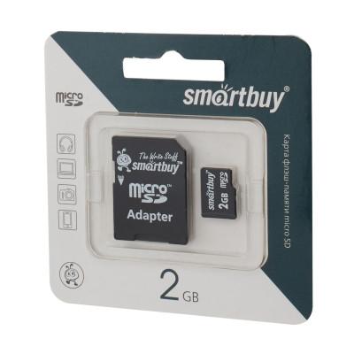 Карта памяти SmartBuy microSDHC 2gb + SD adapter