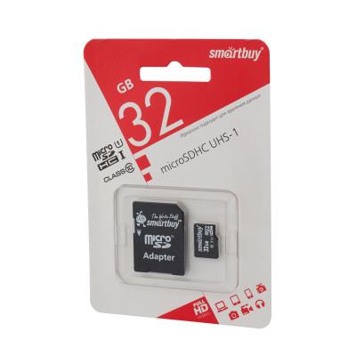 Карта памяти SmartBuy microSDHC Class 10 32gb с адаптером