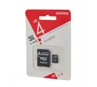 Карта памяти SmartBuy microSDHC Class 4 4gb + SD adapter