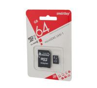 Карта памяти SmartBuy microSDHC Class 10 64gb + SD adapter