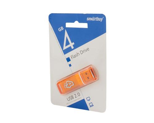 Флешка SmartBuy Glossy USB 2.0 4Gb оранжевый