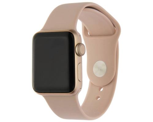 Ремешок для Apple Watch 38 - 40 мм силиконовый  бледно розовый