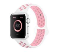 Ремешок для Apple Watch 42 - 44 мм с перфорацией белый с розывым