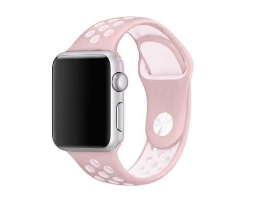 Ремешок для Apple Watch 42 - 44 мм с перфорацией темно-розовый с белым