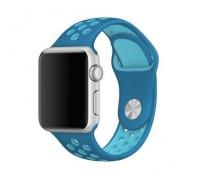 Ремешок для Apple Watch 42 - 44 мм с перфорацией синий с голубым
