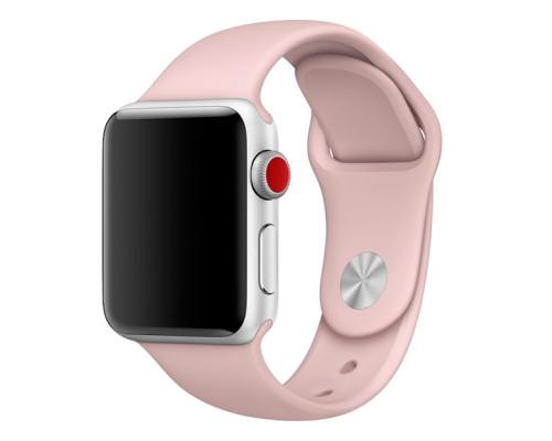 Ремешок для Apple Watch 42-44 мм силиконовый нежно-розовый