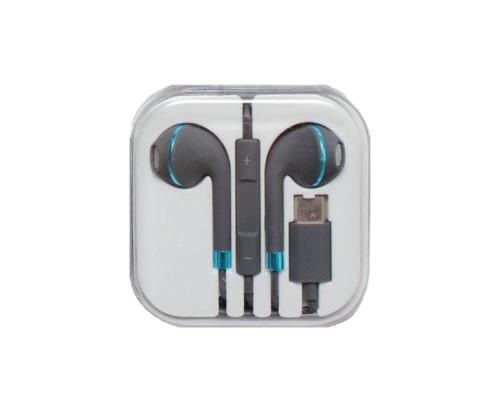 Наушники с микрофоном, разъем Type-C черно-голубые