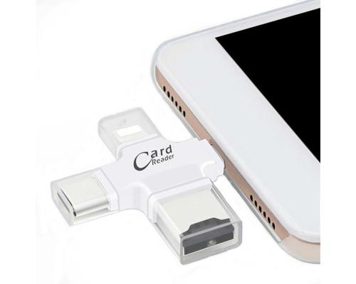 Кардридер для телефона карт памяти microSD, разъемы USB, TYPE-C, micro USB, Lightning