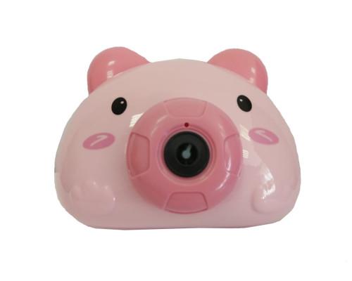 """Детский генератор мыльных пузырей в виде фотокамеры """"Свинка"""", цвет розовый"""