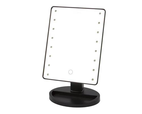 Косметическое зеркало с подсветкой, черное